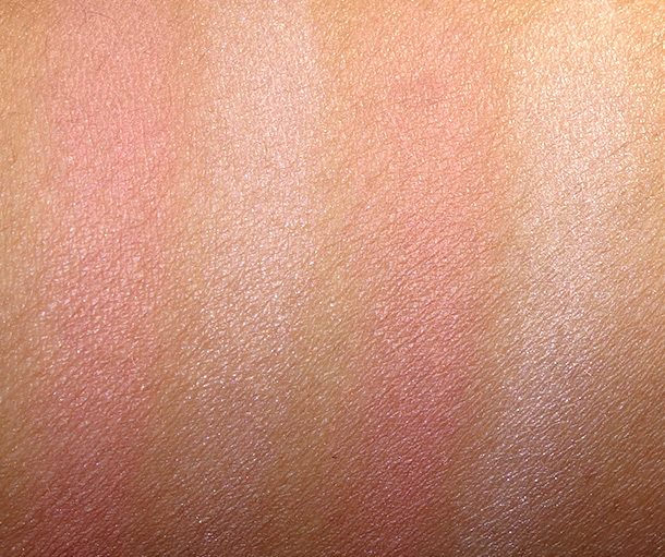 DHC Face Color Palettes Swatches: Glowing Rose (two swatches on the left) and Radiant Ruby (swatches on the right)