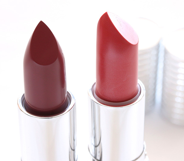 Le Metier de Beaute Hydra-Creme Lipsticks in Grenadine (left) and Butterfield 8 (right)