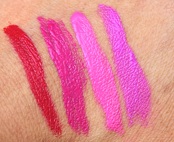 Milani Lip Intense Liquid Color swatches from the left: 01 Red Extreme, 02 Pink Rave, 03 Fiery Coral and 04 Violet Addict