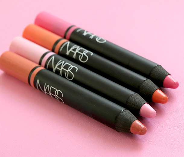 NARS FInal Cut Satin Lip Pencils from the left: Descanso, Stourhead, Torres Del Paine and Villa Lante