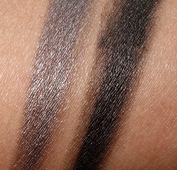 Napoleon Perdis China Doll Gel Eyeliner Swatches from the left: Lotus and Forbidden City