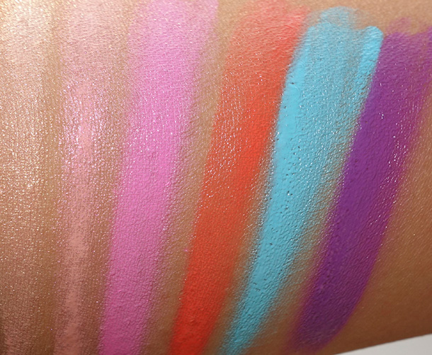 OCC Plastic Passion Spring 2014 swatches from the left: Hollywood (a metallic beige with a golden shimmer), Pleasure Model (a metallic pearlescent pink), Mannequin (a matte pink), Kimber (a matte neon orange coral), Pool Boy (a matte aquatic blue) and Rollergirl (a matte vibrant lavender purple)