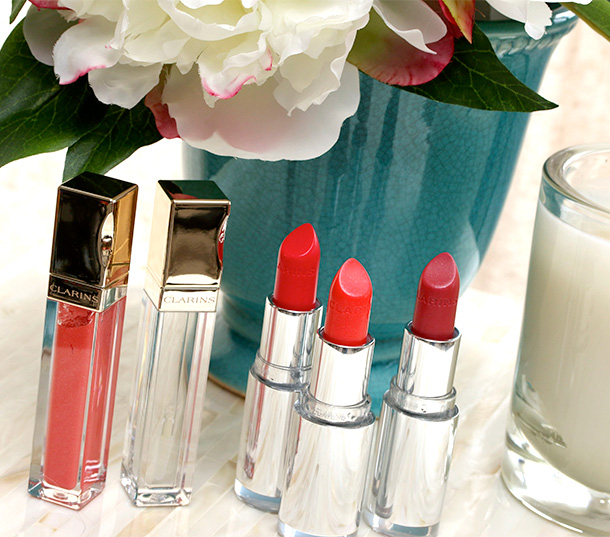 Clarins Opalescence Spring 2014 collection lip products from the left: Gloss Prodige Lip Glosses in Coral Tulip and Crystal ($23 each); Joli Rouge Brilliant Lipsticks in Tropical Pink, Coral Tulip and Pink Orchid ($27 each)