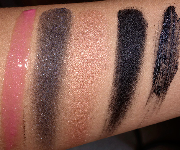 Forever 21 Premium Cosmetics swatches from the left: Lip Gloss in Daquiri, Frosted Eye Shadow in Sapphire, Baked Bronzer, Gel Eyeliner in Black and Volume and Length Mascara
