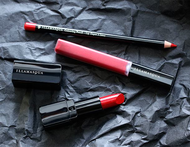 Illamasqua I'm the One Collection lip products in Feisty, Touch and Maneater