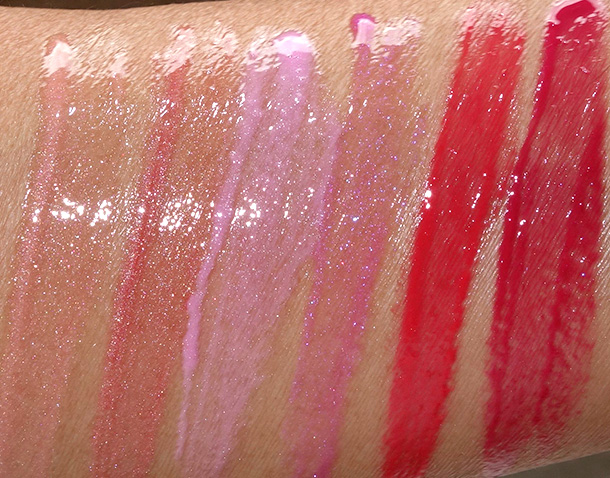 MAC A Fantasy of Flowers Cremesheen Glass Swatches from the left: Nectarsweet, Flare for Fantasy, Pagoda, Playful Petal, Star Quality and Galaxy Rose