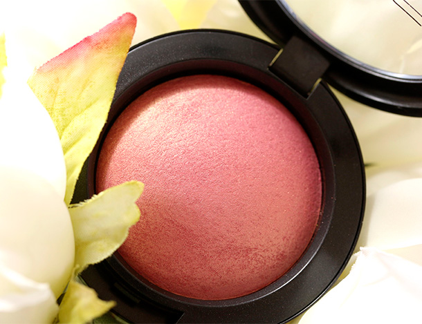 MAC Petal Power Mineralize Blush, a coral pink with golden shimmer