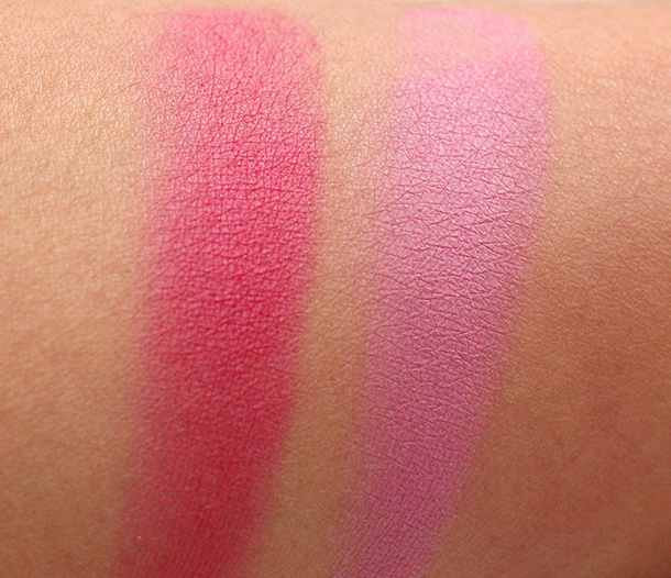 Swatches of Milani's Baked Blushes in Bella Rosa (left) and Delizio Pink (right)