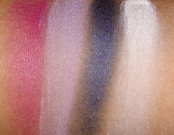 NYX Hot Singles Swatches from the left: Pink Lady, Lolita, Asphyxiation and Whipped Cream