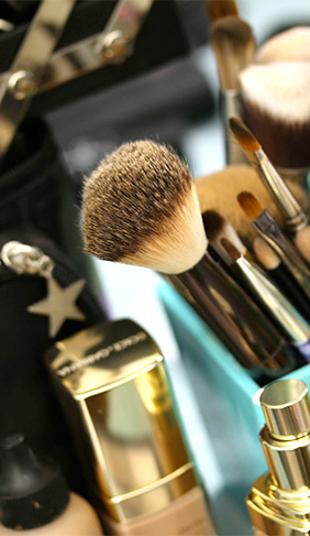 A recently used foundation brush