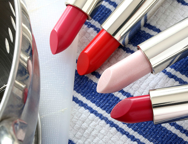 Guerlain Rouge G Lipsticks from the left: 77 Geraldine, 48 Geneva, 866 Rose Glace and 864 Rose Grenat