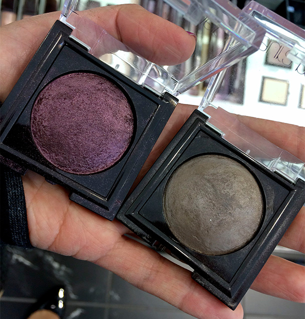Laura Mercier Baked Eye Colour in Aubergine (left) and Smoky Topaz (right), $24 each