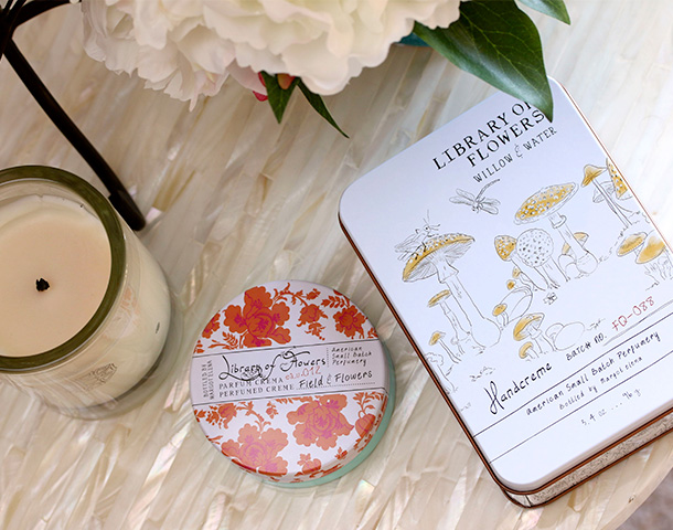 Library of Flowers Field & Flowers Parfum Creme ($21) and Library of Flowers Willow & Water Coco Butter Handcreme ($25)