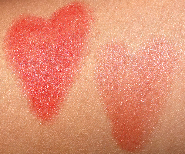 Swatches of NYX Chunky Dunk Hydrating Lippies in Sex on the Beach (left) and Happy Buddha (right)