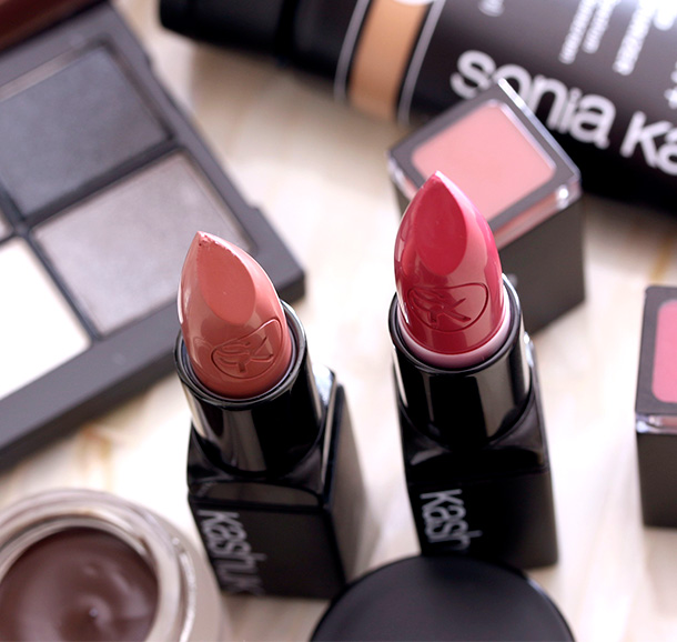 Sonia Kashuk Satin Luxe Lip Color SPF 16 in Pink Buff (left) and Very Berry (right), $9.99 each