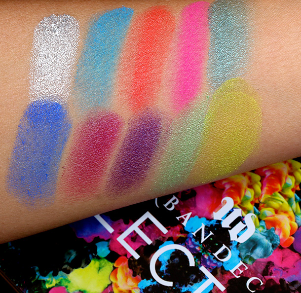 Urban Decay Electric Pressed Pigment Palette swatches from the left, top row: Revolt, Gonzo, Slowburn, Savage and Fringe; bottom row: Chaos, Jilted, Urban, Freak and Thrash