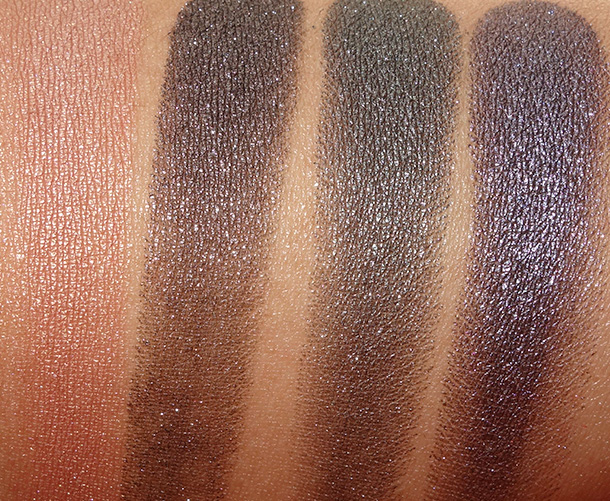 MAC Alluring Aquatic Extra Dimension Eye Shadows from the left: Lorelei, Soul Serenade, Legendary Lure and Fathoms Deep