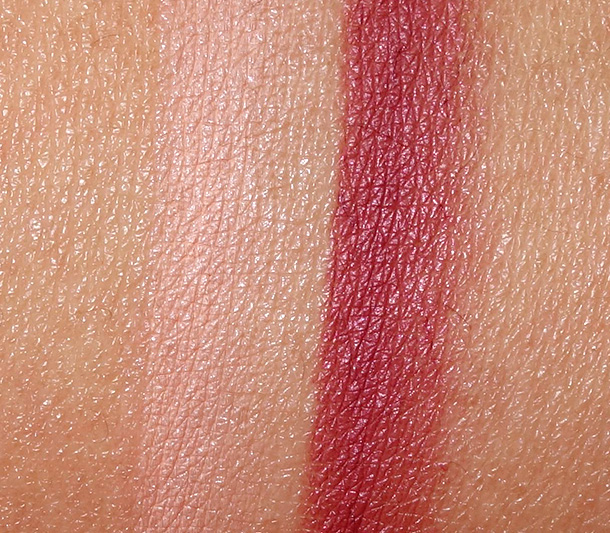 MAC Alluring Aquatic Lip Pencil swatches in What Comes Naturally (left) and Half-Red (right)