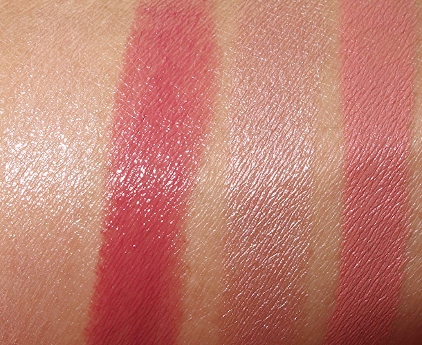 MAC Alluring Aquatic Lipstick swatches from the left: Siren Song, Mystical, Pet Me Please Me and Enchanted One