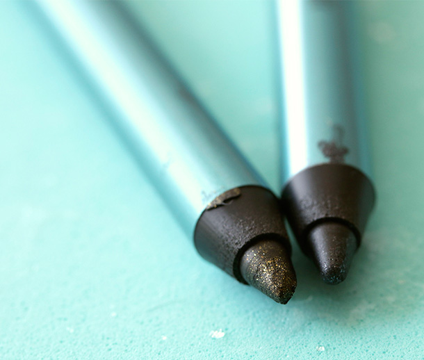 MAC Alluring Aquatic Pearglide Intense Eye Liner in Black Line (left) and Black Swan (right)