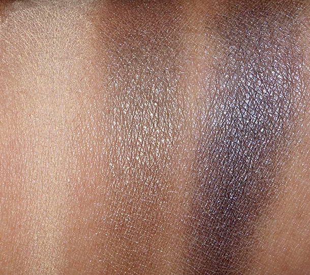 MAC By Request Eye Shadow Swatches from the left: Butterscotch, Fiction and Diesel