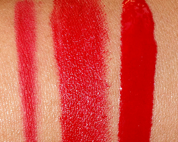 MAC Maleficent Swatches from the left: Pro Longwear Lip Pencil in Kiss Me Quick Amplified Lipstick in True Love's Kiss and Pro Longwear Lipglass in Anthurium