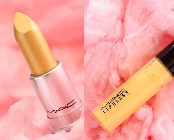 MAC Frost Lipstick in Playland, a frosty yellow gold, and Lipglass in Bright Side, a creamy yellow