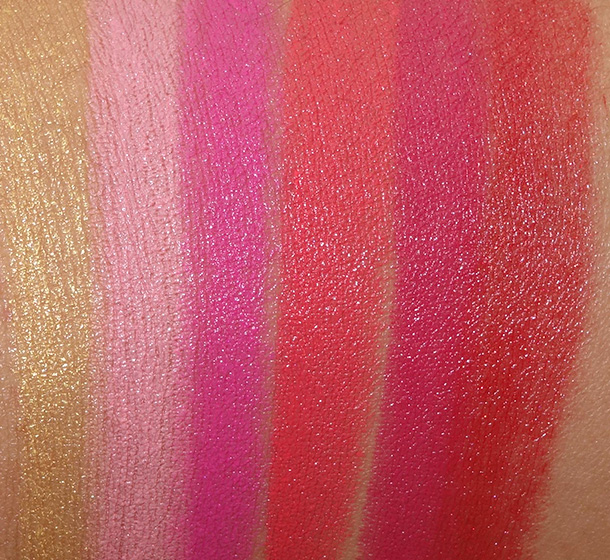 MAC Playland Lipstick Swatches from the left: Playland, Sweet Experience, Happy-Go-Lucky, Toying Around, Red Balloon and Head in the Clouds
