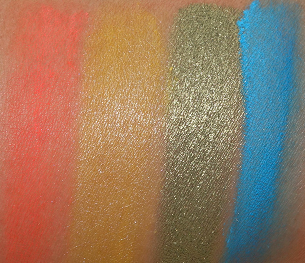MAC Playland Pigment Swatches from the left: Neon-Orange, Ever So Yellow, Golden Olive and Hi-Def Cyan