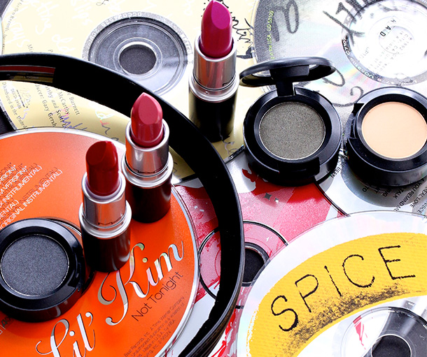 Six of the nine pieces of the MAC By Request Collection