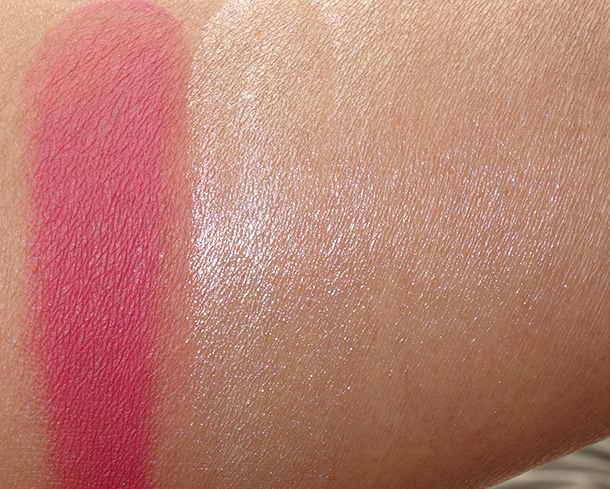 NARS 413 BLKR Blush on the left and Illuminator (both blended and unblended) on the right