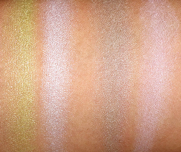 NARS Adult Swim Swatches from the left: neon lemon lime and icey lavender from the Tropical Princess Duo Eyeshadow; golden pewter and lilac from the Lost Coast Duo Eyeshadow