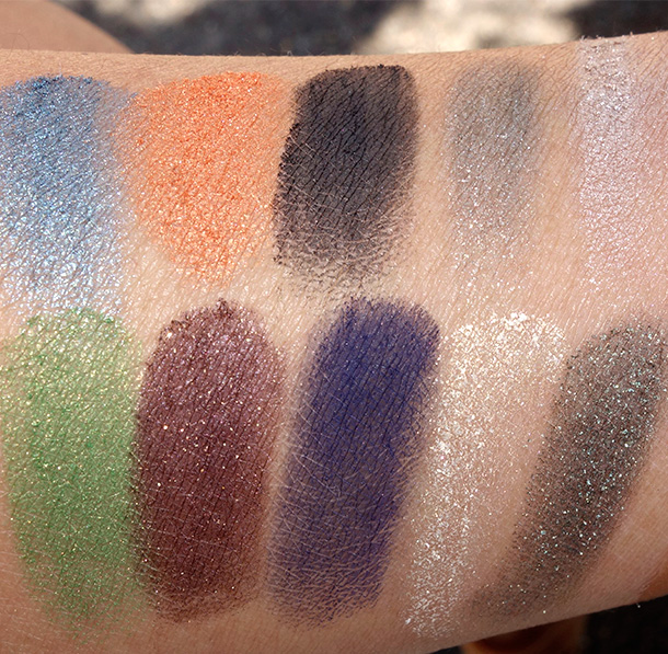 Smashbox Santigolden Age Collection Eye Shadow Collage Swatches in Apocalypse Now (top row) and Earth As We Know It (bottom row)