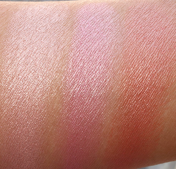 BECCA Beach Tint Shimmer Souffle Swatches from the left: Fig/Opal, Raspberry/Opal and Papaya/Topaz