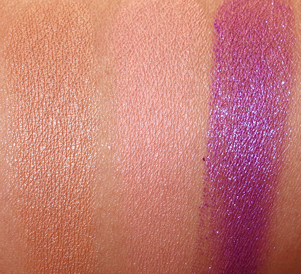 Colour Pop Swatches from the left: Desert, Cheeky and Dare