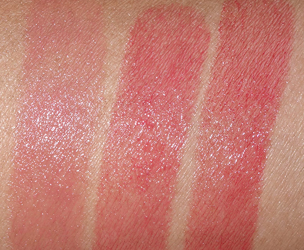 Fresh Sugar Lip Treatment Swatches from the left: Petal, Coral and Cherry
