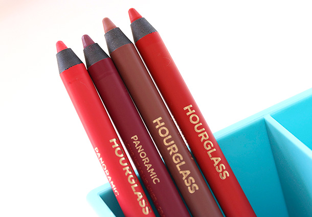 Hourglass Panoramic Lip Pencils from the left: Muse, Empress, Eden and Raven