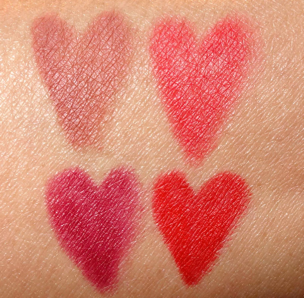 Hourglass Panoramic Lip Pencil Swatches clockwise from the lower left corner: Empress, Nude, Muse and Raven