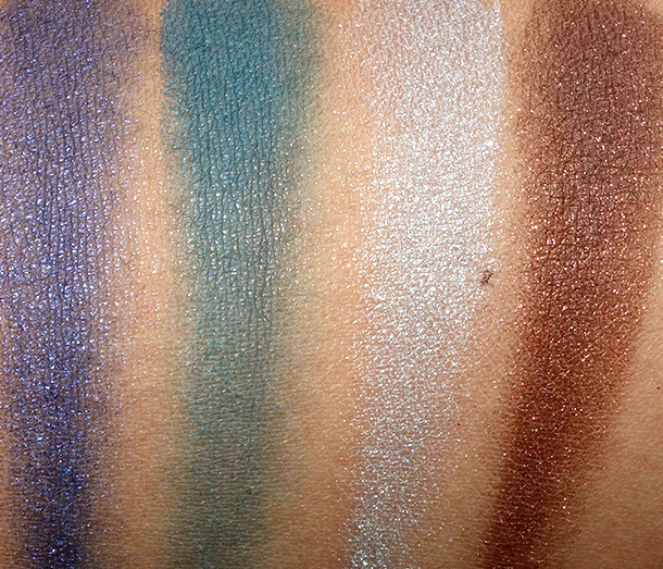 Swatches of the Laura Mercier Baked Eye Colour Quad in Summer in St. Tropez