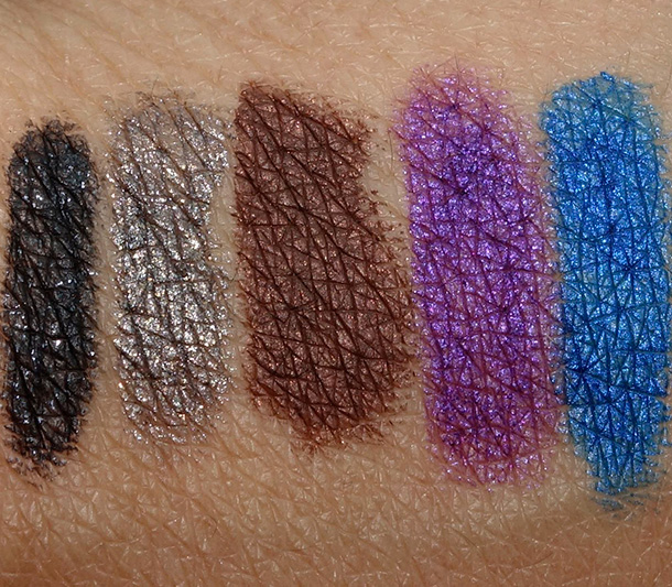 Make Up For Ever Aqua Matic swatches from the left: Diamond Black D-10, Satiny Warm Brown S-60, Diamond Golden Grey D-12, Iridescent Pop Purple I-90 and Iridescent Electric Blue I-22
