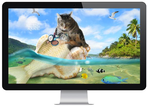 MAC Alluring Aquatic Collection Wallpaper Starring Tabs the Cat