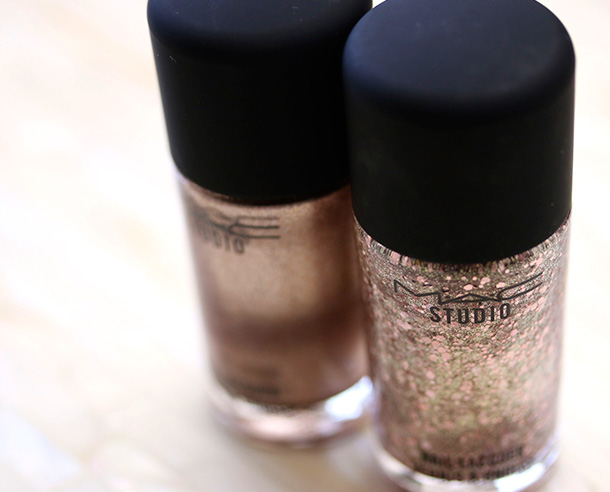 MAC Studio Nail Lacquers in Soiree (left) and Quick Million (right), $12 each