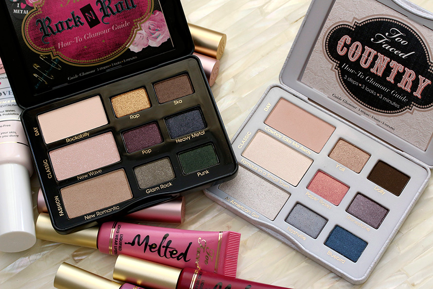 Too Faced Rock N Roll Rock Candy Eye Shadow Collection on the left and Country Nashville Nudes Eye Shadow Collection on the right ($36 each)