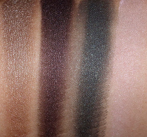 Laura Mercier Sensual Reflections Collection Fall 2014 Satin Matte Eye Colour Swatches from the left: Gold Seduction, Plum Allure, Tempting Green and Sensual Pink
