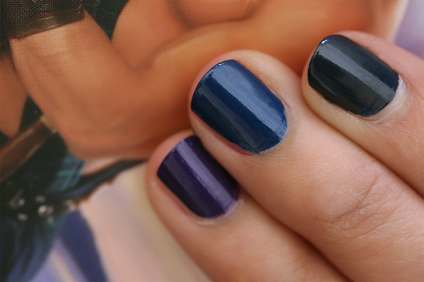 MAC A Novel Romance Nail Swatches from the left: Midnight Strata, Midnight Ocean and Midnight Sky