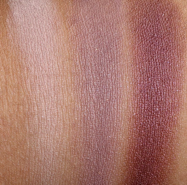 Tarte Rainforest After Dark Palette Swatches from the left: Eyeshadows in Bare to Explore, Make a Mauve and Plum Away With Me