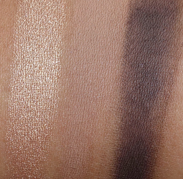 Tarte Rainforest After Dark Palette Swatches from the left: Eyeshadows in Up to No Gold, Tan-gled Up in You and Don't Turn A-Brown