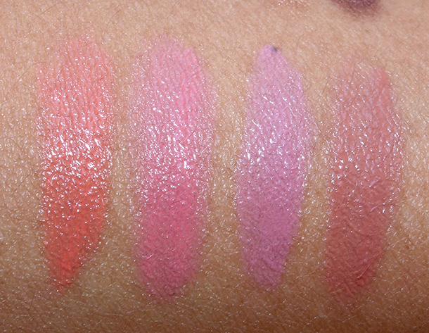 YSL Kiss & Blush Swatches from the left: 07 Corail Affranchi, 08 Pink Hedoniste, 09 Rose Epicurien and 12 Mocha Garconne