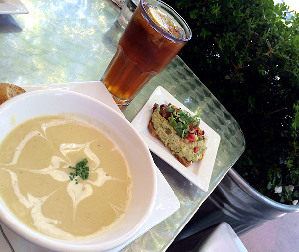 Chickpea Spread, Artichoke Puree Soup and Iced Tea from Rustic Bakery (3)