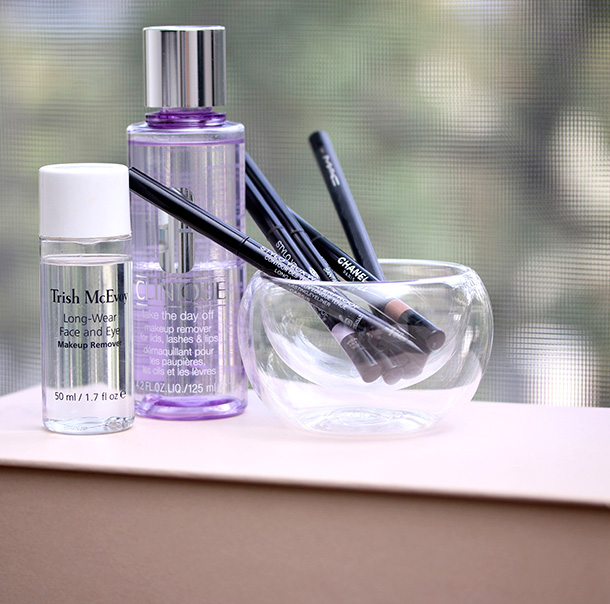 Trish McEvoy Long-Wear Face and Eye Makeup Remover; Clinique Take The Day Off Makeup Remover For Lids, Lashes & Lips; Chanel Stylo Yeux Waterproof Long-Lasting Eyeliners and MAC Smolder Eye Kohl